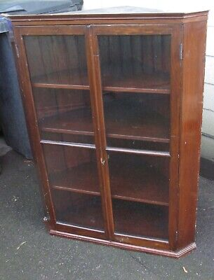 Victorian Display Cabinet Wall Hanging Pine Glazed With Key  3 Shelves