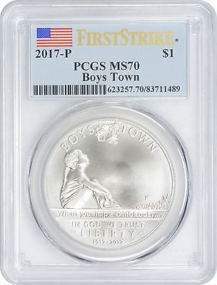 2017-P Boys Town Centennial Commemorative Dollar MS70 PCGS First Strike
