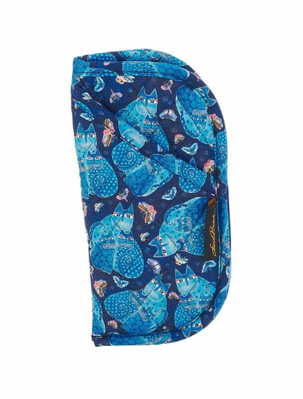 Laurel Burch Quilted Cotton Eyeglasses Pouch Case (Indigo Cats)