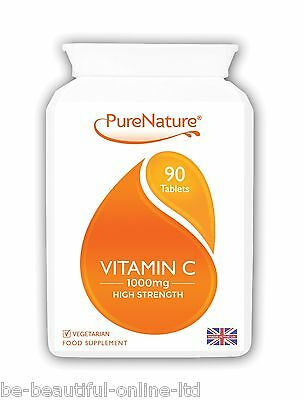 90 Vitamin C Ultra Strength & Absorption 1000mg Vegetarian Tablets 3 Mth Supply