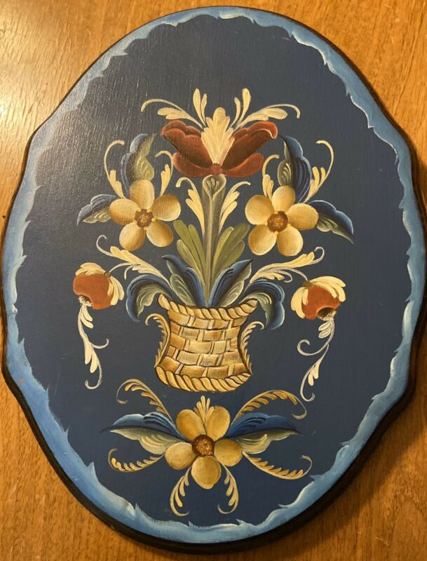 """Norwegian Wooden Hand  Painted """"ROSEMALING"""" Wall Hanger 12""""by 9-1/2"""