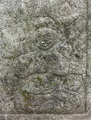 Rare Korean Joseon Dynasty Granite Stone Buddha Deity Figure Plaque