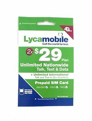 Lycamobile Preloaded  29X2 Months Unlimited Nationwide Talk Text   Data 3In1 Sim