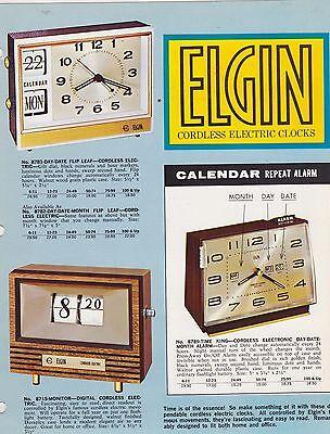 VINTAGE CATALOG #1565- ELGIN CORDLESS ELECTRIC CLOCKS