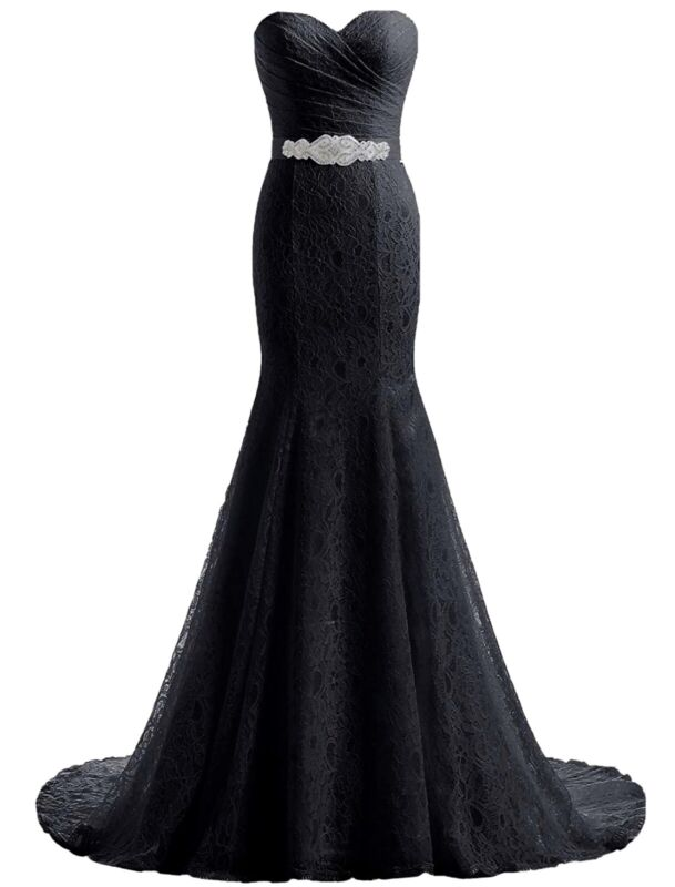 NWT Black Lace Mermaid Formal Wedding Dress Gala Prom Dress Size XL Beaded Belt