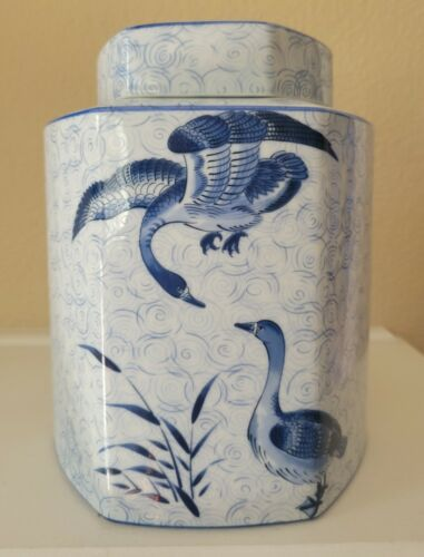 "Vintage! Yamaji Japan Ginger Jar With Lid - Blue Geese Print 10""X6.5"""