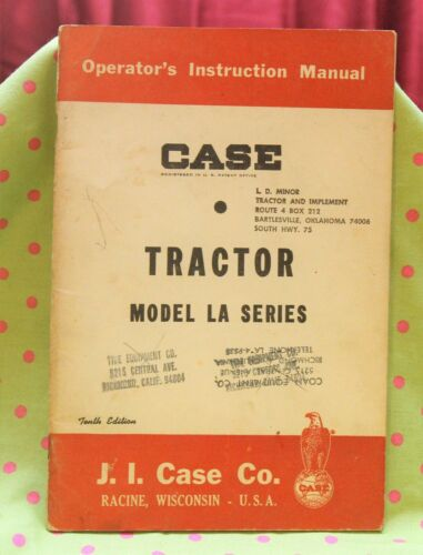 Vintage Case model LA series TRACTOR operators manual