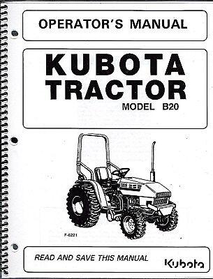 Kubota B20lb Tractor Wloader Backhoe Operators Manuals Set Of 3