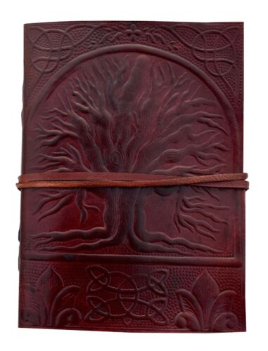 Embossed brown Tree of Life Design Oak Tree Leather Journal Diary Notebook 7x5