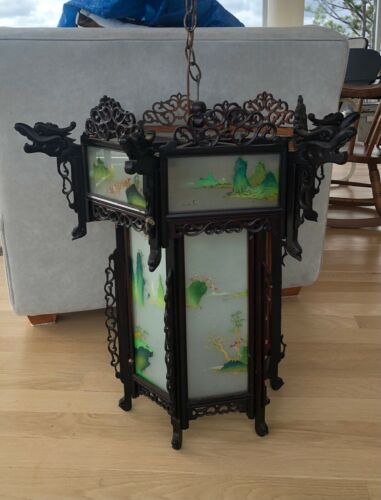 """Vintage Chinese Rosewood Palace Lantern Hand Painted Glass 26"""" H  27"""" W - AS IS"""