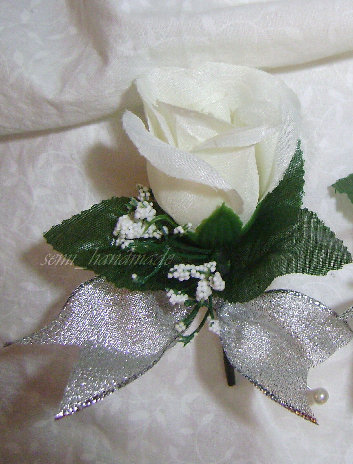 Ivory~Silver~Rose Bud~Open Rose Boutonniere~Pin Corsage~Wedding~Prom~Quinceanera