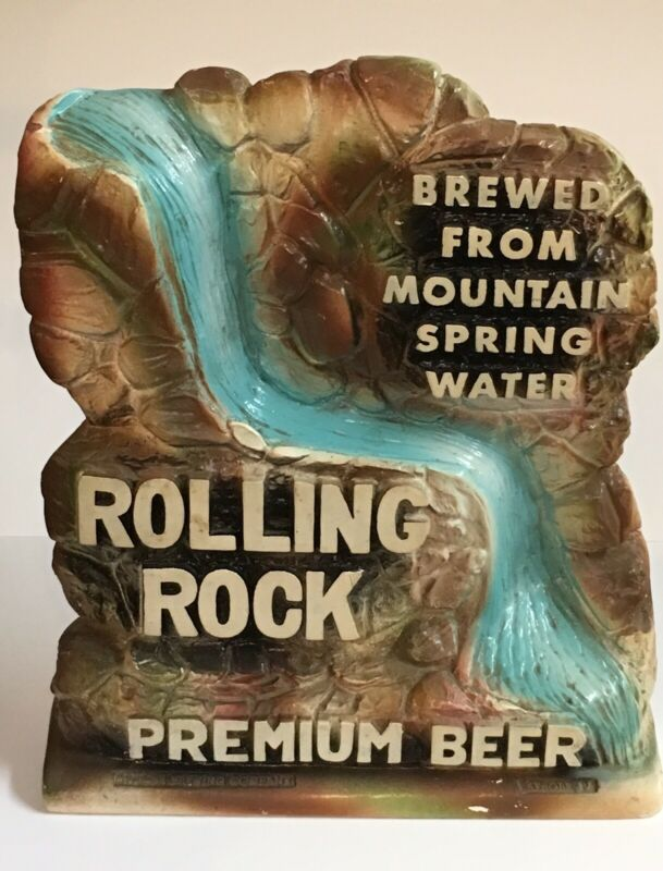 1960s ROLLING ROCK BEER ~VINTAGE WATERFALL ADVERTISING SIGN~ SILVESTRI CHALKWARE