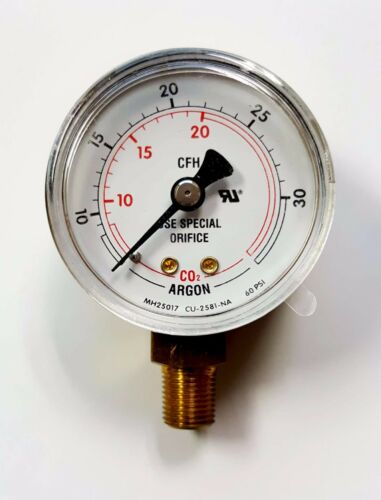 NEW Argon MH20517 CO2 Flow Gauge Regulator 60 PSI, 50mm, 1/8 NPT 10-30