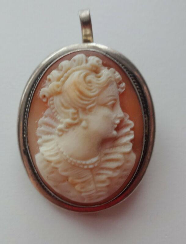 Georgian Fine Intricate Carved Shell Cameo Princess 800 Silver Brooch Pendant