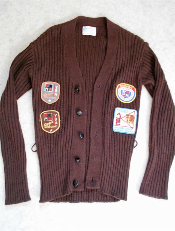 Vintage Towncraft sweater, youth bowling patches. Brown cardigan, girl