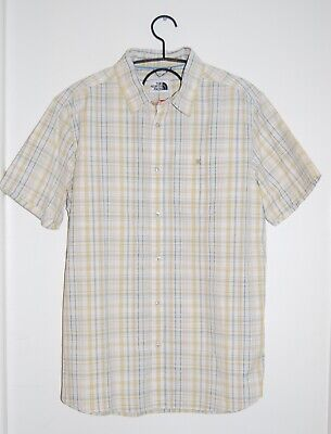 NWT The North Face Men's Yellow Plaid Woven Button Front SS Baker Shirt sz L