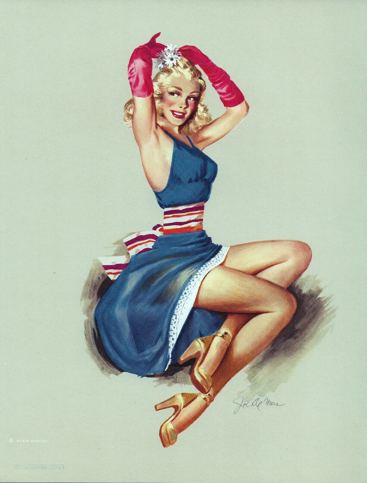 1950S ORIGINAL PIN UP GIRL LITHOGRAPH BY DE MERS TGHE FINISHING TOUCH 156 - $5.00