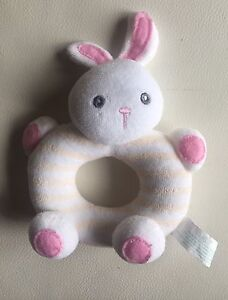 RUSS Baby's Soft White Bunny Rattle Toy  $2.00
