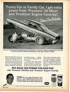 1967 prestone engine tune up amp oil miser ad w dyno don nicholson funny car ebay. Black Bedroom Furniture Sets. Home Design Ideas
