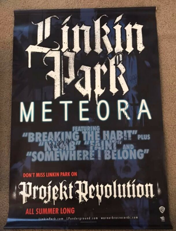 """LINKIN PARK Signed Vinyl Banner 24"""" x 36"""" Meteora Promo Chester +5 JSA LOA Rare"""