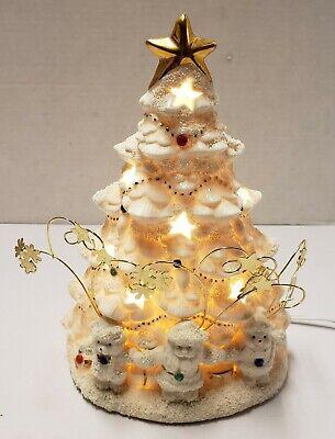 "VIntage Ceramic Christmas Tree Lamp Light White GOLD Flocked Santa Snowman 9.25"""