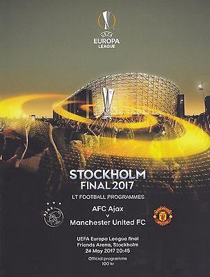 * 2017 UEFA EUROPA LEAGUE FINAL - MANCHESTER UNITED v AJAX  PROGRAMME & POSTER *