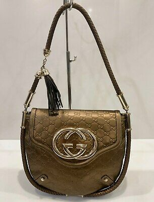Gucci Britt GG Monogram Leather Guccissima Shoulder Bag Flap Bronze