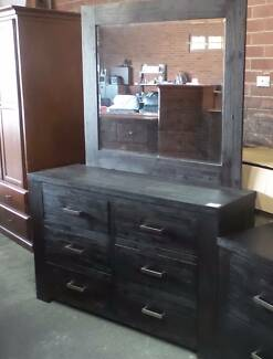 6 DRAW DRESSER IN RUSTIC FINISH WITH MIRROR