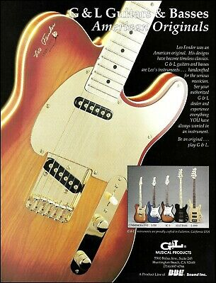 Leo Fender made 1992 G&L Commemorative S-500 SC-3 ASAT guitar & bass 8 x 11 ad for sale  Shipping to Ireland