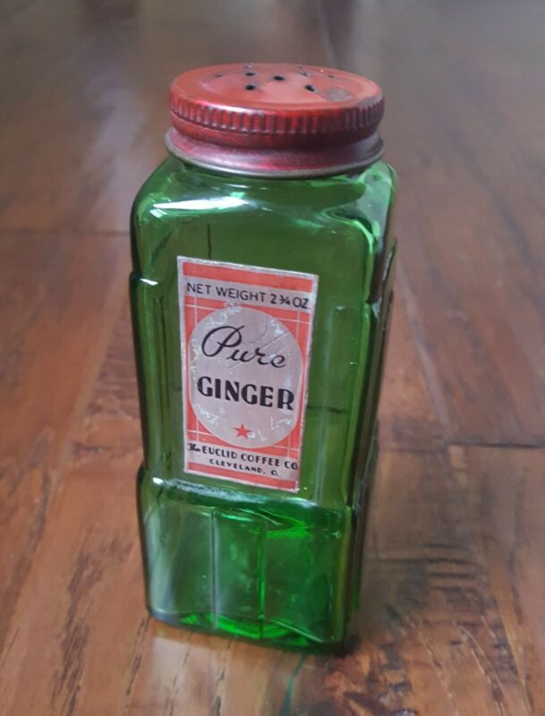 Vintage Art Deco Euclid Coffee - Owens Illinois Green Glass Ginger Bottle