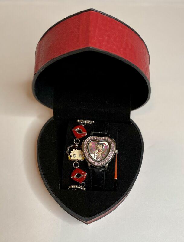 New Old Stock Betty Boop Charm Bracelet Rhinestone Watch Set Rhinestone Pink