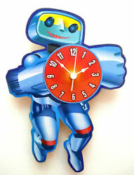 CHILDRENS ROBOT CLOCK HAND MADE WOODEN CLOCK NURSERY WALL CLOCK SCI FI