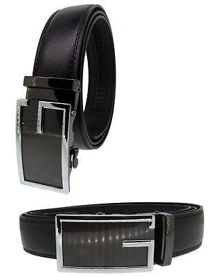 Men Automatic Ratchet Click Lock Belt Buckle Genuine Leather Design Style (Design Belt Buckle)