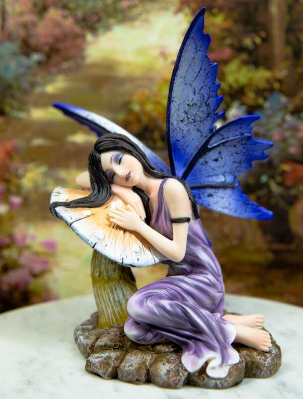 Ebros Purple Lavender Fairy Sleeping On Mushroom Stool Statue Garden Figurine