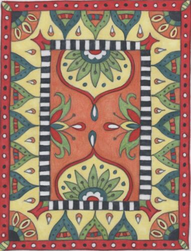 Whimsy Rugs Rug Hooking Pattern - Moroccan Medley - 27.5 x 36 on Linen