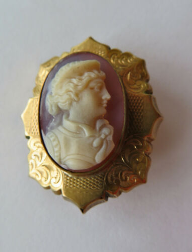 Superb Antique Late Victorian Gold Filled Pink Sardonyx Cameo Pin Brooch