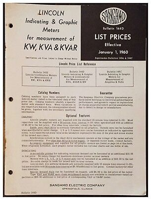 Sangamo Lincoln Indicating Graphic Meters For Kw Kva Kvar 1960 Price List