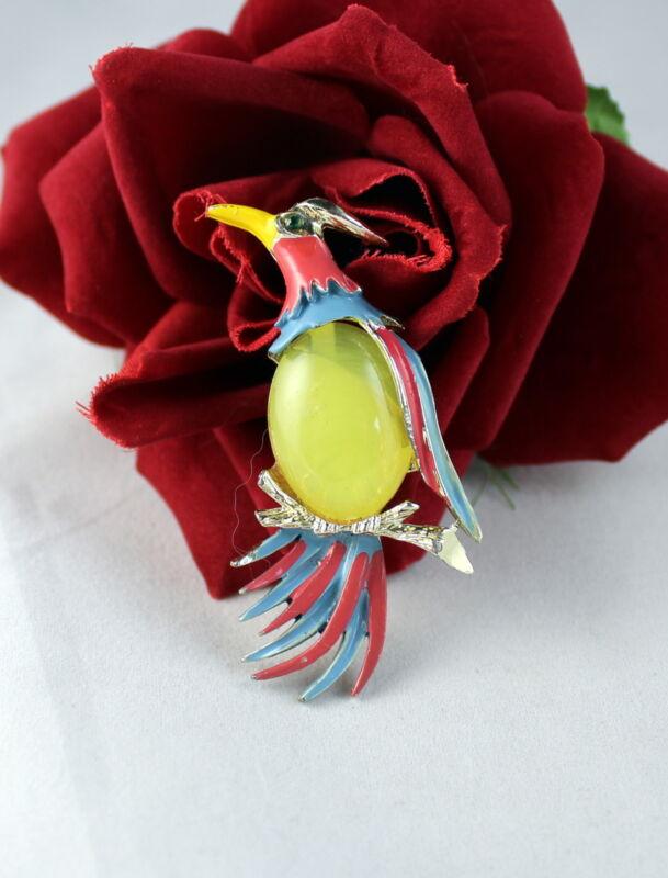 Vintage Enamel Jelly Belly Bird  Pin Brooch  CAT RESCUE