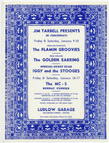 IGGY & THE STOOGES Flamin Groovies MC5 Original 1970 Concert Handbill Flyer