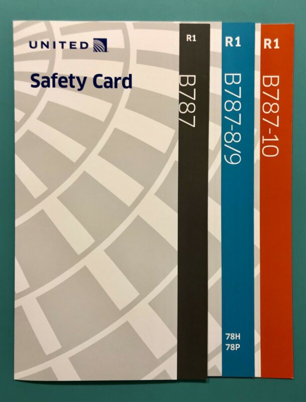 3 UNITED AIRLINES SAFETY CARDS—787-8,9,10