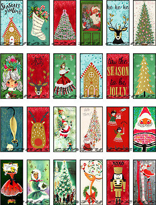 24 CHRISTMAS SANTA TREE HANG / GIFT TAGS FOR SCRAPBOOK PAGES (83)