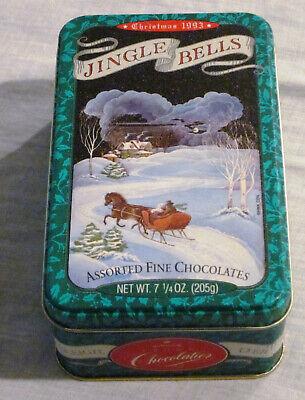 1993 HALLMARK CROWN VINTAGE JINGLE BELLS CHOCOLATE CHRISTMAS CANDY TIN