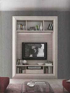 Cornice porta tv parete soggiorno finitura olmo natura art - Porta televisore da parete ...