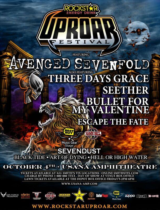AVENGED SEVENFOLD /3 DAYS GRACE /SEETHER 2011 SALT LAKE CITY CONCERT TOUR POSTER