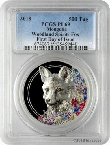 2018 500 Tug Mongolia Woodland Spirits Fox 1oz .999 Silver Coin PCGSPL69 FD