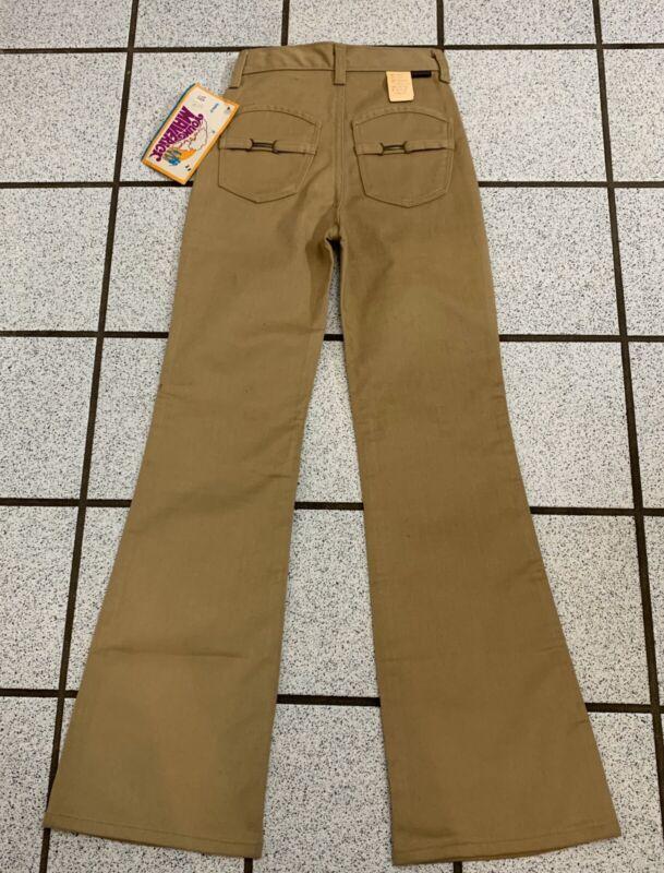Vintage Girls Pants Hippie Bell Bottom 1970s Tan Polyester Flare NWT Sz 10 Slim