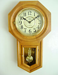 D&A Schoolhouse Wall Clock Regulator Oak Pendulum Westminster Chime Quartz Wood