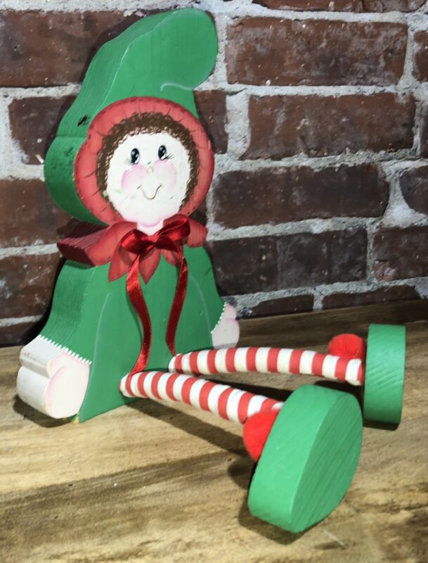 Christmas Elf Shelf Sitter Wood Red Green VTG GUC