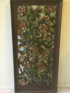 'Roses' Hand-carved and painted Wood Decorative Wall Panel