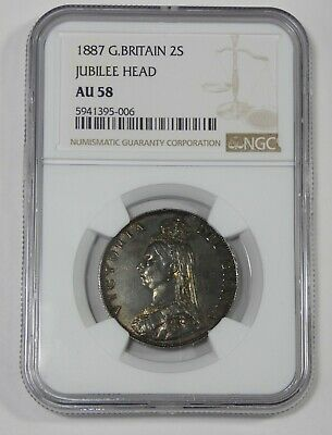 1887 Great Britain Queen Victoria Jubilee Head Silver Florin Coin NGC AU 58